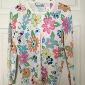 Bright colorful cardigan. Alfred Dunner, petite M